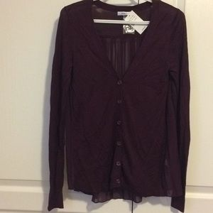 Rickis plum light knit cardigan with sheer back